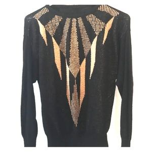Vintage gold and black abstract sweater